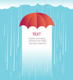 Rain clouds with red umbrella.Protects against rain illustration Stock Photo
