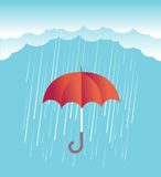 Rain clouds with red umbrella.Vector spring sky Royalty Free Stock Photos