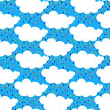 Rain Clouds Seamless Pattern rainbow Royalty Free Stock Images