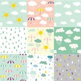 Rain and clouds seamless patterns royalty free illustration