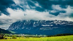 Rain clouds and storm over the Alps, timelapse stock video footage