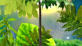 Rain and cobweb in the garden vector illustration