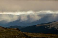 Rain On Colorado Mountains. Rain falls on the mountains surrounding Mount Evans, Colorado Stock Photos