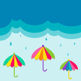 Rain and colorful umbrella background design concept of protection symbol. Royalty Free Stock Photo