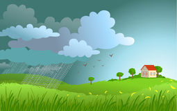 Rain is coming. Dramatic landscape with approaching a storm and a rain on a small house Stock Image