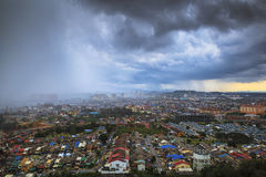 Rain is coming at top view of town Stock Photo