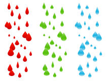 Rain Compositions Isolated on. There are three Rain Compositions. Various colors Stock Image