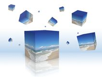 Rain of cubes falling. Rain of boxes with the beautiful beach falling Royalty Free Illustration
