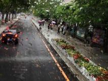 Rain Dalian China. Rain season in Dalian China street stock photos