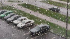 Rain days, heavy rain falling on window surface. stock footage