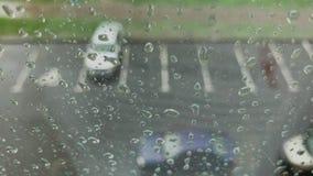 Rain days, heavy rain falling on window surface. stock video