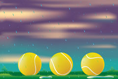 Rain delay. Illustration of tennis balls on grass with rain Royalty Free Stock Images