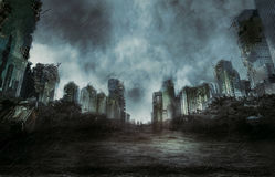 Rain in the destroyed city stock illustration