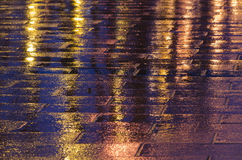 Rain. Details, streets in night under rain, Madrid, Spain Stock Image