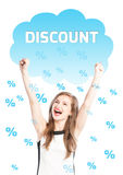 Rain of discounts on a happy woman Royalty Free Stock Photo
