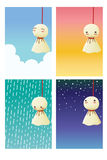 Rain Doll - Teruterubozu. Vector File EPS10 Stock Images