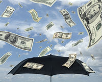 Rain of dollars. Wealth idea in a metaphor of rain of dollars. Bill of 5, 10, 50 and 100 dollars royalty free stock image