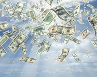 Rain of dollars stock photos