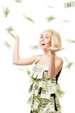 Rain of dollars - woman won a million Royalty Free Stock Photos