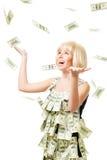 Rain of dollars - woman won a million Royalty Free Stock Photos