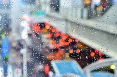 Rain dorps on glass Royalty Free Stock Photo