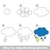 Rain. Drawing tutorial. Stock Photos