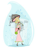 Rain drop. Illustration of a vintage woman with umbrella in a raindrop royalty free illustration