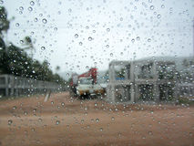 Rain drop on auto glass Royalty Free Stock Image