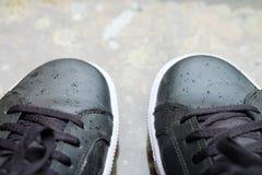 Rain drop on black sneakers. Of man Stock Photography