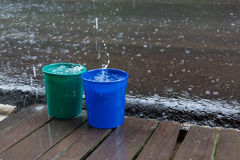 Rain drop in bucket water, weather rainy Royalty Free Stock Image