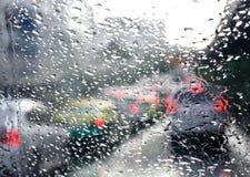 Rain drop on car windshiel Stock Photo