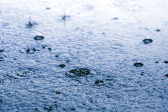 Rain drop on ground in blue mood Royalty Free Stock Image