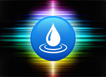 Rain Drop Icon Button on Abstract Spectrum Background Stock Photography