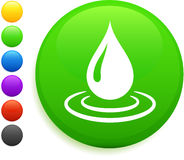 Rain drop icon on round internet button Royalty Free Stock Image