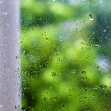 Rain drop on old window Stock Photo