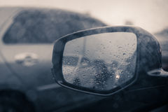 Rain drop on rear window in rainning day Royalty Free Stock Image