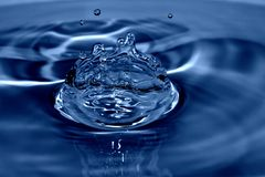 Rain-drop splash. In the blue Royalty Free Stock Photography