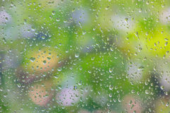 Rain drop on window glass Stock Photo
