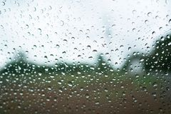 Rain drop on the window with tree and sky background use for bac. Kground Stock Photo