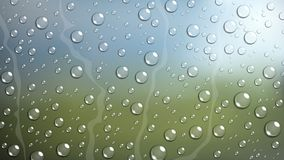 Rain Drop on windshield car window with blurred nature Stock Photo