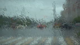 Rain drop on the windshield on the day of rain. Abstract background. 4k shot stock footage