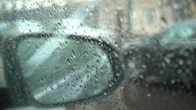 Rain drop on the windshield on the day of rain. 1080p video stock video