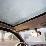 Rain droplets on car windshield Royalty Free Stock Images