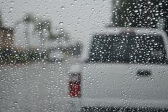 Rain Droplets On Car Windshield Stock Photos