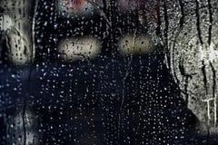 Rain drops on the bus window Stock Photo