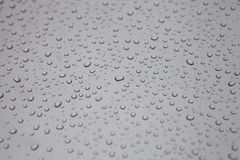 Rain drops on the car. Drops of rain left on the hood of the car Royalty Free Stock Images