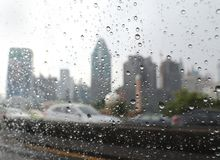 Rain drops in the car window on Bangkok highway stock image