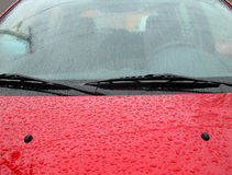 Rain drops on a car windshield Royalty Free Stock Photo