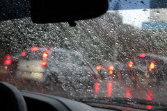 Rain drops on car windshield after water protection repellent coating Royalty Free Stock Photography