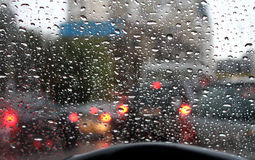 Rain drops on car windshield after water protection repellent coating Stock Images